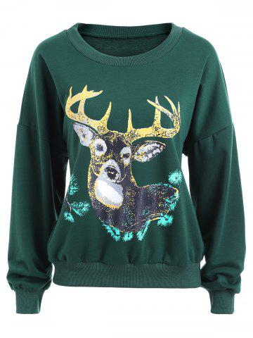 Store Elk Print Crew Neck Christmas Sweatshirt GREEN XL
