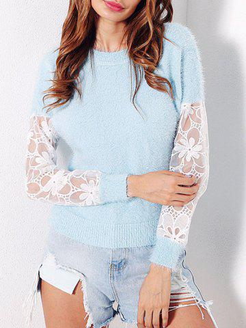 Shop Mesh Panel Fuzzy Sweater LIGHT BLUE ONE SIZE