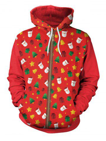 Discount Zip Up Christmas Tree Bells Santa Claus Hoodie RED L