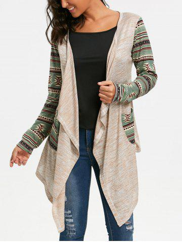 Trendy Geometric Print Long Sleeve Draped Cardigan - L OFF-WHITE Mobile