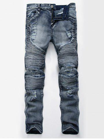 Straight Color Wash Ripped Moto Jeans Bleu 32