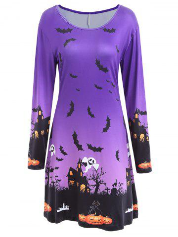 Outfits Long Sleeve Bat Print Swing Halloween Dress PURPLE XL