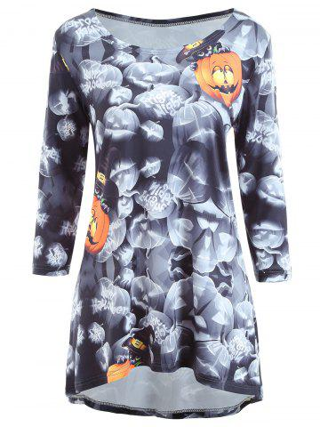 Shop Halloween Pumpkin Print Long Sleeve Dress COLORMIX S