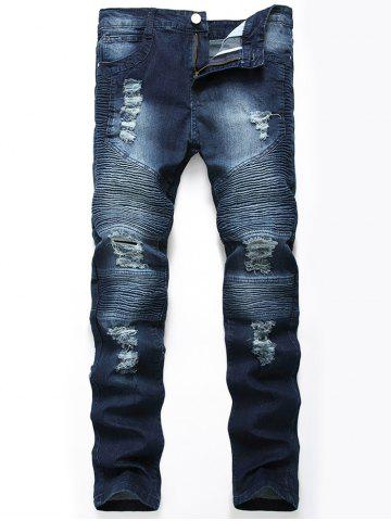 Trendy Straight Color Wash Ripped Moto Jeans - CERULEAN 32 Mobile