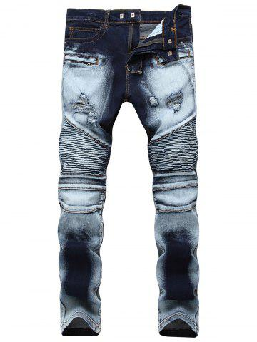 Online Acid Wash Ripped Biker Jeans - 34 BLUE Mobile