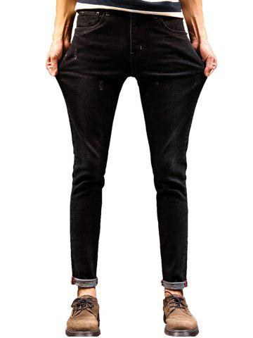 Fashion Zip Fly Maple Leaf Print Tapered Jeans BLACK 32