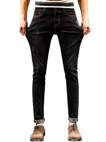 Shop Graphic Print Zip Fly Tapered Jeans - 36 BLACK Mobile