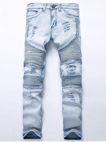Affordable Straight Color Wash Ripped Moto Jeans LIGHT BLUE 32