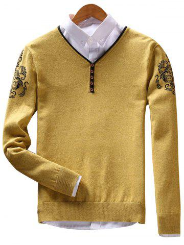 Trendy V Neck Vintage Floral Button Sweater YELLOW 3XL