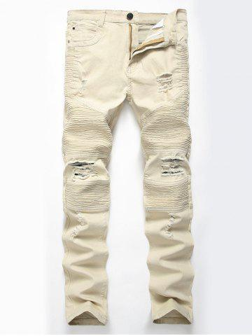 Straight Color Wash Ripped Moto Jeans Kaki Clair 34