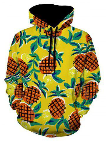 Latest Drawstring Pineapple Print Pullover Hoodie COLORMIX M