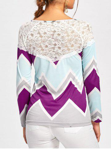 Outfits Zig Zag Lace Insert T-shirt COLORMIX S