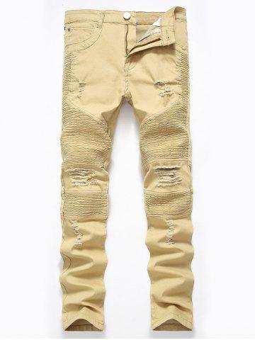 Cheap Straight Color Wash Ripped Moto Jeans DARK KHAKI 36