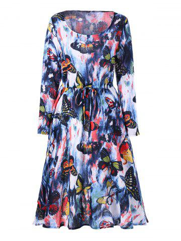 Fancy Long Sleeve Butterfly Printed Drawstring Dress COLORMIX M