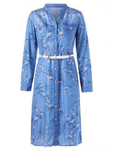 Outfits Plum Blossom Print Denim Shirt Dress with Belt - XL BLUE Mobile