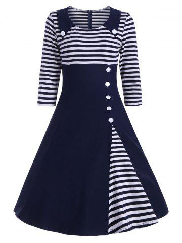 Online Button Embellished Striped A Line Vintage Dress