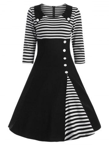 Discount Button Embellished Striped A Line Vintage Dress - L BLACK Mobile