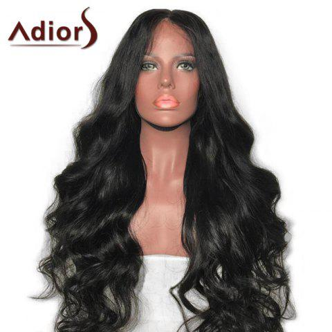 Affordable Adiors Long Middle Part Shaggy Body Wave Synthetic Wig NATURAL BLACK