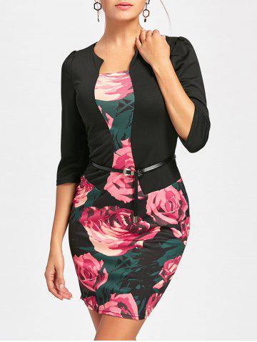 Buy Rose Printed Bodycon Faux Two-piece Dress - 2XL BLACK Mobile