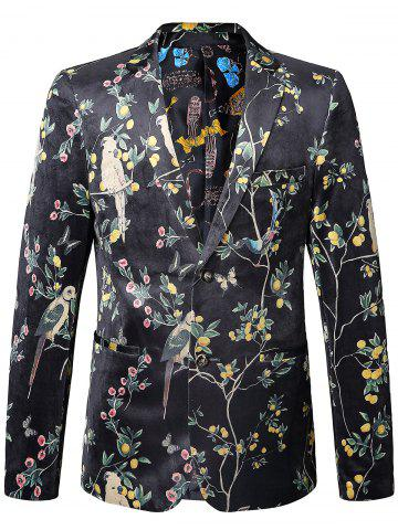 Outfits Birds in the Trees Print Velvet Blazer - 52 COLORMIX Mobile