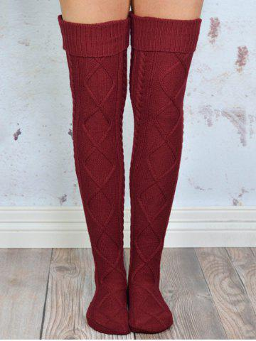 Chic Cable Knit Overknee Stockings WINE RED ONE SIZE