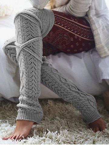 Latest Overknee Cable Knit Stockings GRAY ONE SIZE