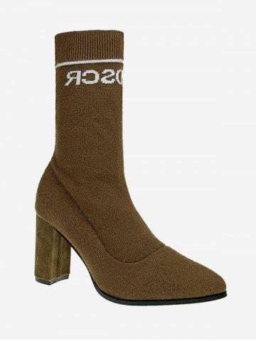 Outfit Chunky Letter Pointed Toe Mid Calf Boots - 35 KHAKI Mobile
