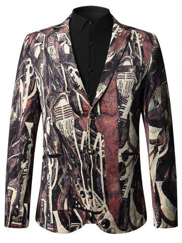 Shops Single-breasted Oil Painting Velvet Blazer - 52 COLORMIX Mobile