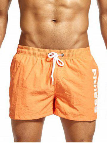 Fashion Mesh Lining Drawstring Fitness Shorts - ORANGE L Mobile