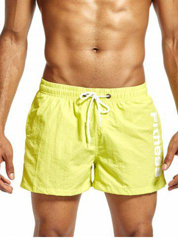 Cheap Mesh Lining Drawstring Fitness Shorts - 2XL FLUORESCENT YELLOW Mobile