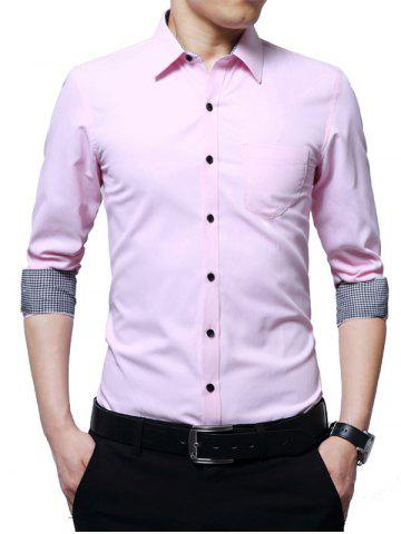 Buy Chest Pocket Long Sleeve Basic Business Shirt - 5XL PINK Mobile