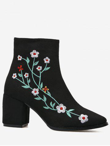 Unique Ankle Chunky Embroidery Floral Boots - 35 BLACK Mobile