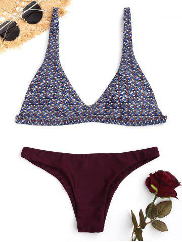 Sale Contrast Tribal Print Plunge Bikini Set - L COLORMIX Mobile