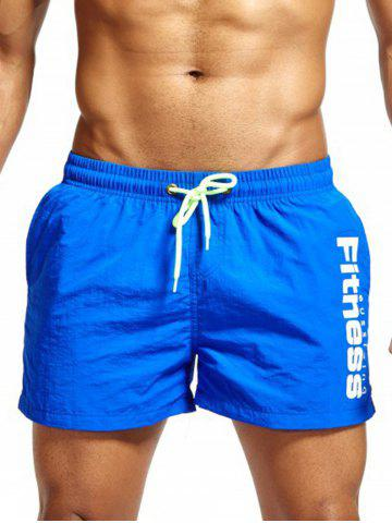 Online Mesh Lining Drawstring Fitness Shorts - 2XL AZURE Mobile