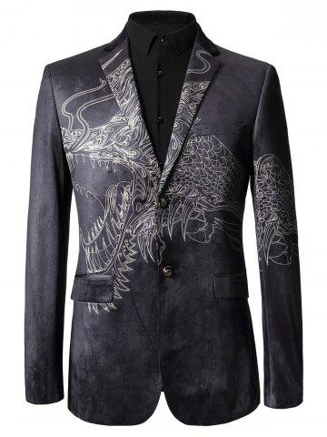 Unique Two Button Totem Print Velvet Blazer