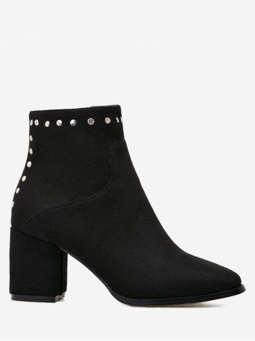 Store Pointed Toe Rivet Chunky Heel Ankle Boots - 37 BLACK Mobile