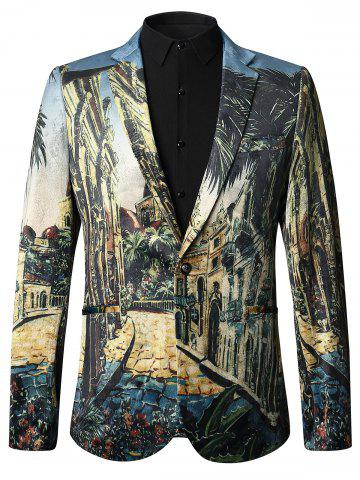 Affordable 3D Print Lapel Velvet Blazer - 54 COLORMIX Mobile