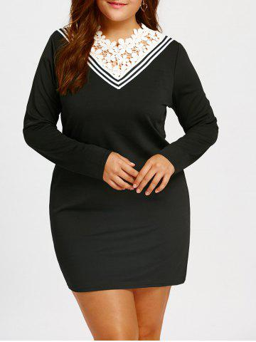 Lace Trim Plus Size Long Sleeve Mini Dress