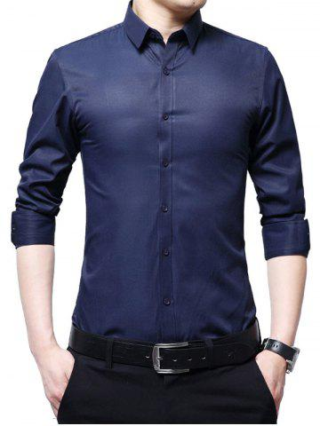 Store Long Sleeve Business Basic Shirt - 4XL DEEP BLUE Mobile