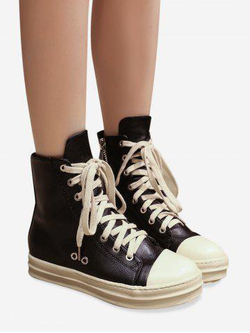 Online Ankle Eyelet PU Leather Boots BLACK 37