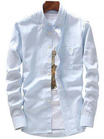Sale Long Sleeve Button Down Pocket Shirt - 5XL LIGHT BLUE Mobile