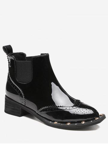 Latest Ankle Rivet Wingtip Boots BLACK 36