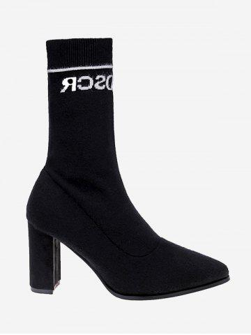 Outfits Chunky Letter Pointed Toe Mid Calf Boots BLACK 36