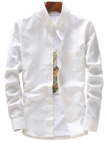 Fashion Long Sleeve Button Down Pocket Shirt - 5XL WHITE Mobile