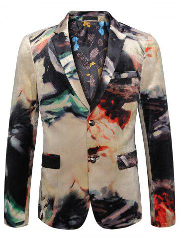 Shops Two Button Tie Dye Casual Velvet Blazer - 54 COLORMIX Mobile