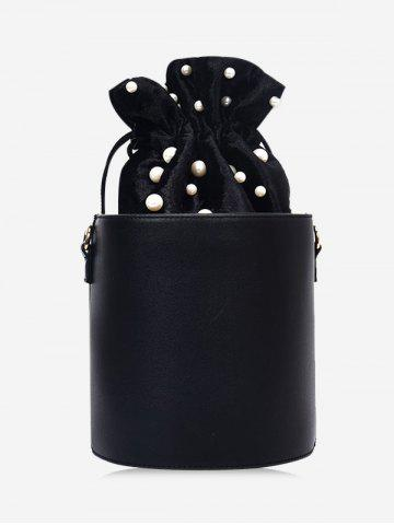 Chic PU Leather Drawstring Faux Pearl Bucket Bag