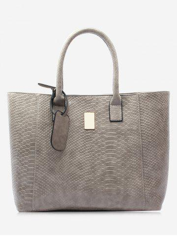 Cheap Faux Leather Crocodile Printed Shoulder Bag GRAY