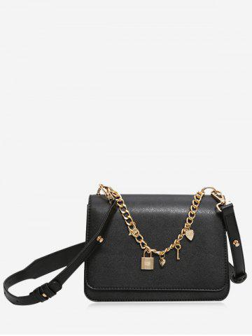 Buy Chain Heart Star Crossbody Bag - BLACK  Mobile