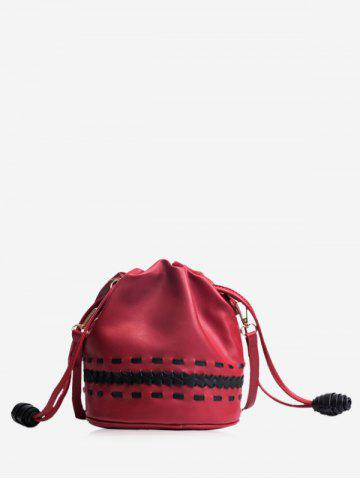 Outfits PU Leather Drawstring Braid Crossbody Bag RED