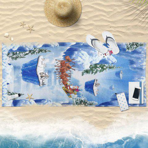 Fancy Magic Snow Scenery Print Bath Towel BLUE 75*150CM